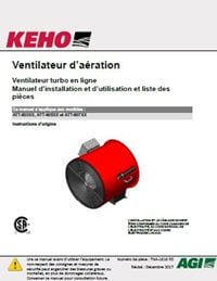 Inline Turbo Aeration Fan Models - Installation, Operation, Parts Manual (FRENCH)