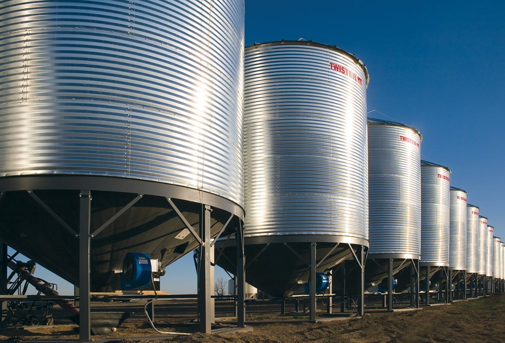 "Twister's line-up of 4"" corrugated hopper bins are available in 15' to 24' diameters for hopper toppers. Image"