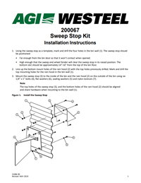 31086 Sweep Stop Kit Installation Instructions