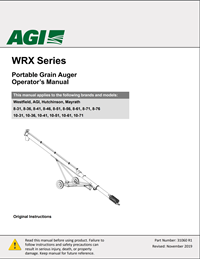 WRX Series Portable Grain Auger Operator's Manual